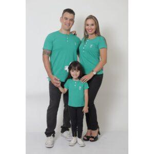 PAIS E FILHA  Kit 3 Peças T-Shirt ou Body Henley - Verde Jade [Coleção Família]