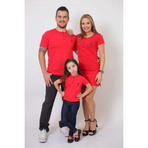 PAIS E FILHA  Kit 3 Peças - T-Shirt + Vestido + T-Shirt ou Body Henley Infantil - Vermelho [Coleção Família]