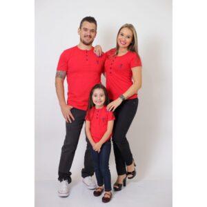 PAIS E FILHA  Kit 3 Peças - T-Shirt ou Body Henley - Vermelho [Coleção Família]