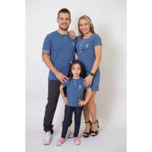 PAIS E FILHA  Kit 3 Peças T-Shirt + Vestido + t-Shirt ou Body Infantil Henley - Azul Petróleo [Coleção Família]