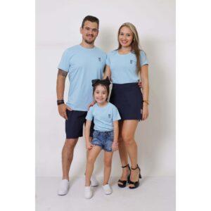 PAIS E FILHAS  Kit 3 Peças T-Shirt - Azul Bebê [Coleção Família]