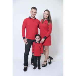 PAIS E FILHOS  Kit 03 Peças Vermelho Manga Longa Camisas ou Body + Vestido Polo [Coleção Família]