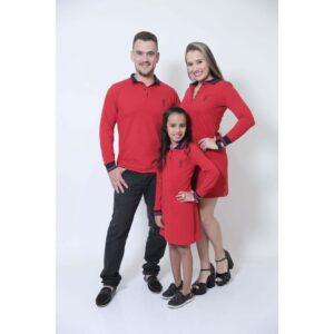 PAIS E FILHAS  Kit 03 Peças Vermelho Manga Longa Camisa + Vestidos Polo [Coleção Família]
