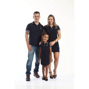 PAIS E FILHOS  Kit 3 peças Camisa e Vestidos Polo Azul Marinho Céu [Coleção Família]