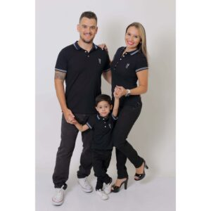 PAIS E FILHOS  Kit 3 peças Camisas ou Body Polo Azul Marinho Céu [Coleção Família]