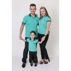 PAIS E FILHOS  Kit 3 peças Camisas ou Body Polo Verde Jade [Coleção Família]