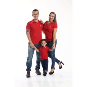 PAIS E FILHOS  Kit 3 peças Camisas ou Body Polo Vermelho Paixão [Coleção Família]