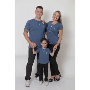 PAIS E FILHOS  Kit 3 Peças T-Shirt ou Body Henley - Azul Petróleo [Coleção Família]