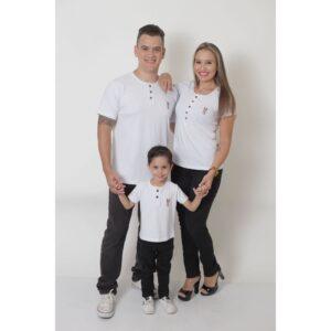 PAIS E FILHOS  Kit 3 Peças T-Shirt ou Body Henley - Branca [Coleção Família]