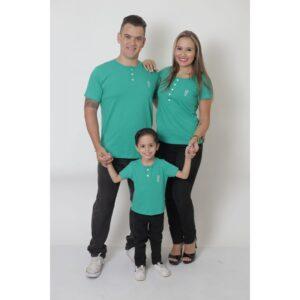 PAIS E FILHOS  Kit 3 Peças T-Shirt ou Body Henley - Verde Jade [Coleção Família]