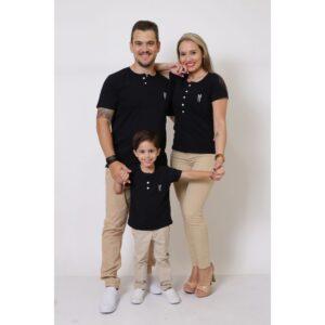 PAIS E FILHOS  Kit 3 Peças T-Shirt ou Body Henley - Preto [Coleção Família]