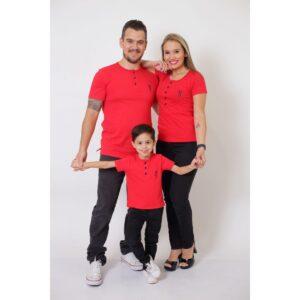 PAIS E FILHOS  Kit 3 Peças - T-Shirt ou Body Henley - Vermelho [Coleção Família]