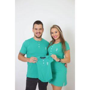 PAIS E FILHOS  Kit 3 Peças T-Shirt + Vestido + Body Unissex Henley - Verde Jade [Coleção Família]