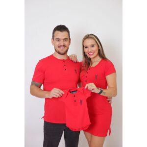 PAIS E FILHOS  Kit 3 Peças T-Shirt + Vestido + Body  Unissex Henley - Vermelho [Coleção Família]