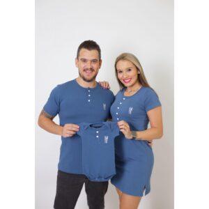 PAIS E FILHOS  Kit 3 Peças T-Shirt + Vestido + Body Unissex Infantil Henley - Azul Petróleo [Coleção Família]