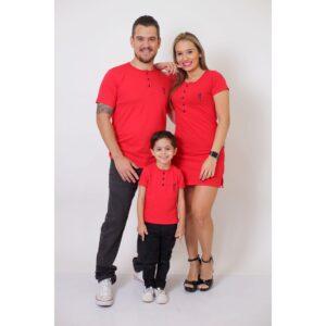 PAIS E FILHOS  Kit 3 Peças T-Shirt + Vestido + t-Shirt ou Body Infantil Henley - Vermelho [Coleção Família]