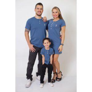 PAIS E FILHOS  Kit 3 Peças T-Shirt + Vestido + t-Shirt ou Body Infantil Henley - Azul Petróleo [Coleção Família]