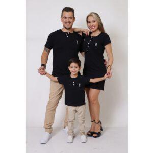 PAIS E FILHOS  Kit 3 Peças T-Shirt + Vestido + t-Shirt Unissex ou Body Infantil Henley - Preto [Coleção Família]
