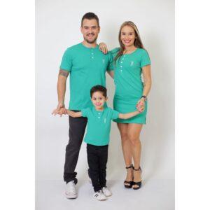 PAIS E FILHOS  Kit 3 Peças T-Shirt + Vestido + t-Shirt ou Body Infantil Henley - Verde Jade [Coleção Família]