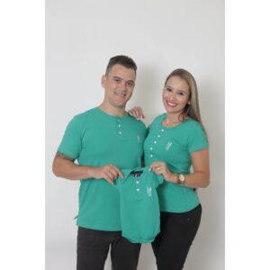 PAIS E FILHOS  Kit 3 Peças - T-Shirts + Body Unissex Henley - Verde Jade [Coleção Família]