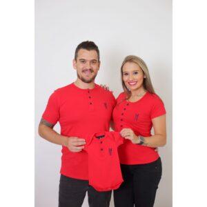 PAIS E FILHOS  Kit 3 Peças - T-Shirts + Body Henley - Vermelho [Coleção Família]