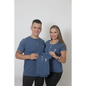 PAIS E FILHOS  Kit 3 Peças - T-Shirts + Body Unissex Henley - Azul Petróleo [Coleção Família]