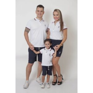 PAIS E FILHOS  Kit - Short Saia + Bermuda Adulta + Bermuda Infantil - Azul Marinho [Coleção Família]