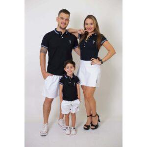 PAIS E FILHOS  Kit - Short Saia + Bermuda Adulta + Bermuda Infantil - Branca [Coleção Família]