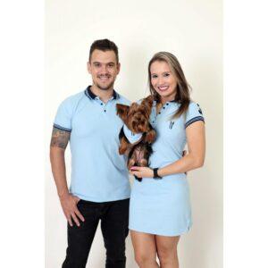 PAIS E PET  Kit 3 peças Camisa + Vestido Polo + Bandana - Azul Nobreza [Coleção Família]