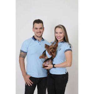 PAIS E PET  Kit 3 peças Camisas Polo + Bandana - Azul Nobreza [Coleção Família]