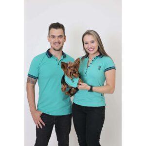 PAIS E PET  Kit 3 peças Camisas Polo + Bandana - Verde Jade [Coleção Família]