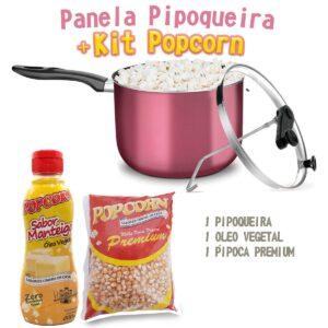 Pipoqueira + Óleo Vegetal sabor Manteiga + Milho Premium.