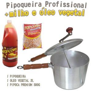 Panela Pipoqueira Profissional em Alumínio Fundido + 500g de milho + 2l de Óleo vegetal Popcorn.