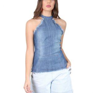 Regata Feminina Jeans Frente Única