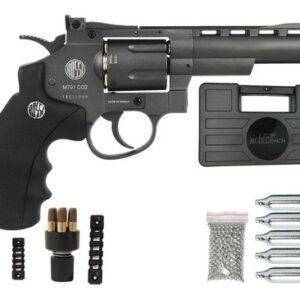 Revolver Pressão Rossi 701 Metal 4Pol Co2 Airgun 4.5mm K2 - 4.5 mm - Cinza