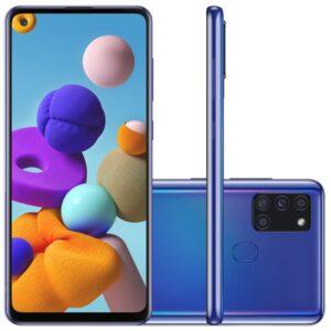 "Samsung Galaxy A21s 6,5"" Dual Chip 64gb 4gb Ram Azul Octa Core Câmera"