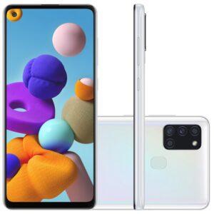 "Samsung Galaxy A21s 6,5"" Dual Chip 64gb 4gb Ram Branco Octa Core Câme"