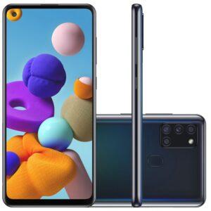 "Samsung Galaxy A21s 6,5"" Dual Chip 64gb 4gb Ram Preto Octa Core Câmer"