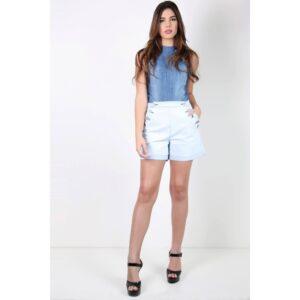 Short Jeans Feminino Cintura Alta com Botões