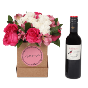 Ame-Se: Arranjo em Caixa M + Vinho Tinto Petirrojo