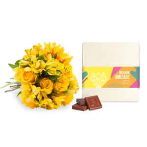 Caixa de 9 Bombons - Melhor Amizade + Buquê Sunshine M