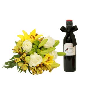 Buquê Obrigado M  + Vinho tinto Petirrojo 375 ml