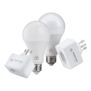 Kit Casa Eficiente Positivo 2 Smart Lâmpadas Wi - Fi + 2 Smart Plugs Wi - Fi Branco Bivolt Kit Casa Eficiente Positivo 2 Smart Lâmpadas Wi-Fi + 2 Smart Plugs Wi-Fi Branco Bivolt