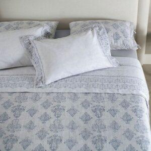 jogo de cama queen buddemeyer 180 fios 100% algodão percalle maite azul