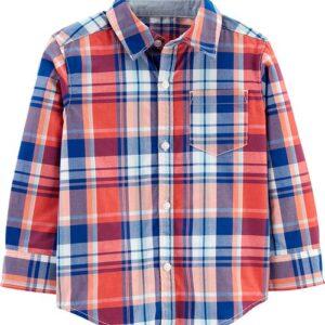 Camisa de botão frontal xadrez de popeline 12M