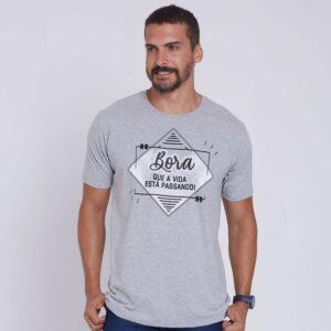 Camiseta Bora que a vida tá passando MS4251 Cinza Mescla P