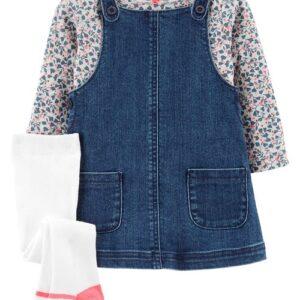 Conjunto Macacão Jeans & Camiseta Floral de 3 Peças 12M