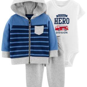 Conjunto de jaqueta infantil herói de 3 peças 12M