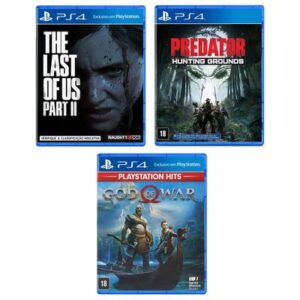 Kit de Jogos PS4 - Predator - Hunting Grounds, The Last Of Us - Part II e God Of War - Sony