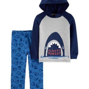Conjunto de jogger & camiseta com capuz de tubarão de 2 peças 12M